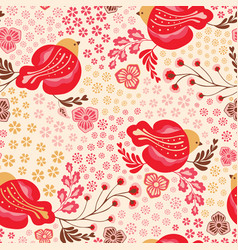 seamless bright bird and floral vintage vector image