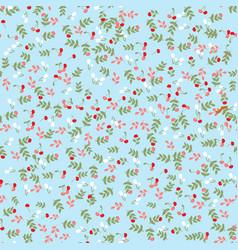 seamless pattern cherry berry spring flower garden vector image