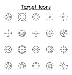 set aim target related line icons contains vector image