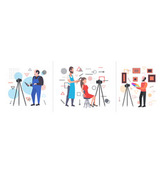 Set bloggers recording online video with camera on vector