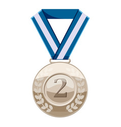 Silver medal with number two icon cartoon style vector