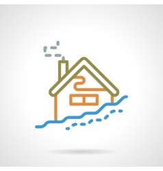 Simple color line winter house icon vector