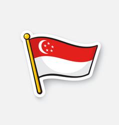 Sticker flag singapore on flagstaff vector