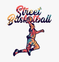 Street basketball with man doing slam dunk when vector
