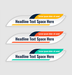 Three colors lower third banners template design vector