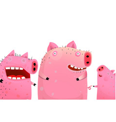 three funny cute pigs portrait vector image