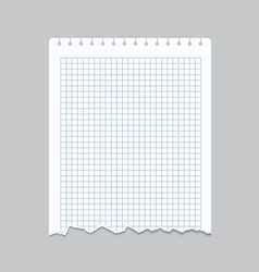 torn notebook page realistic checkered sheet of vector image