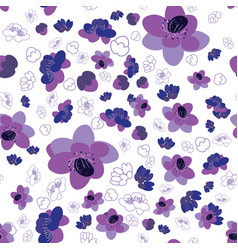 trendy flower sakura background seamless pattern vector image