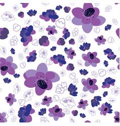 Trendy flower sakura background seamless pattern vector