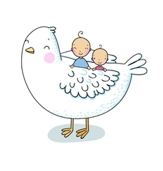 Two cute baand a bird vector
