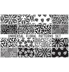 Universal floral seamless patterns set vector