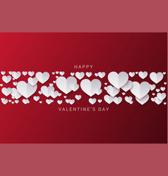 valentines day banner hearts on red vector image