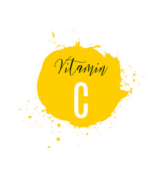 vitamin c watercolor logo yellow ink splash with vector image
