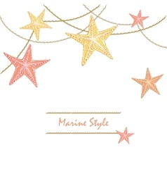 White Happy Decorative sea card with starfishes vector image