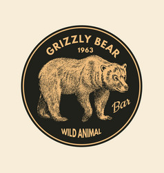 wild animals stickers in vintage style forest vector image