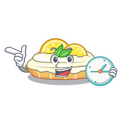 With clock cartoon lemon cake with lemon slice vector