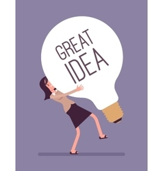 Woman dragging a giant light bulb great idea vector