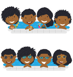 young african american teens having fun in vector image