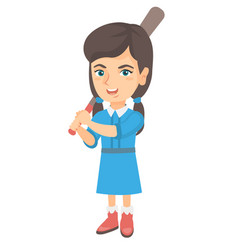 Young caucasian girl playing baseball vector