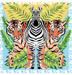 Zebra and tiger with tropical leaves sun mirror vector