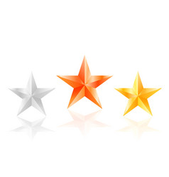 3d stars golden silver bronze star with sides vector image vector image