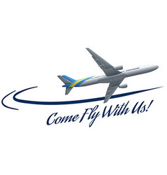 Airplane flying and advertisement words vector image vector image