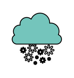 blue cloud snowing icon vector image