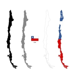 Chile country black silhouette and with flag on vector image