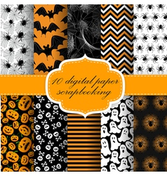 Collection of Halloween Seamless vector image vector image