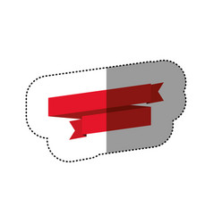 color sticker of red ribbon in a spiral and a half vector image