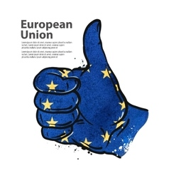 hand gesture thumb up flag of the European Union vector image