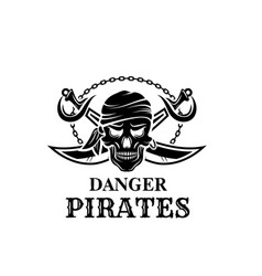 pirate skull head icon for piracy flag vector image