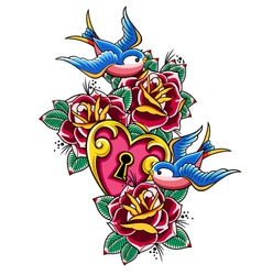style tattoo swallow rose heart vector image