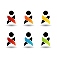 Abstract people- colorful people isolated logos vector image vector image
