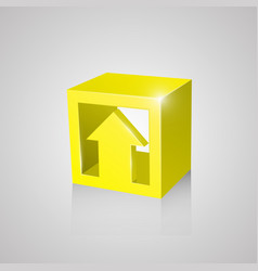 box with arrow yellow vector image vector image