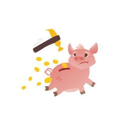 Cartoon piggy bank run away from hummer vector