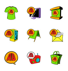 cashpoint icons set cartoon style vector image vector image