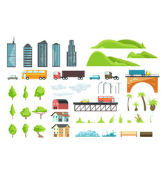 flat city map elements with urban transport vector image