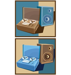 old reel tape recorder set vector image vector image