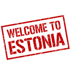 welcome to estonia stamp vector image vector image