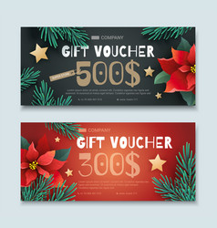 christmas and new year gift voucher vector image