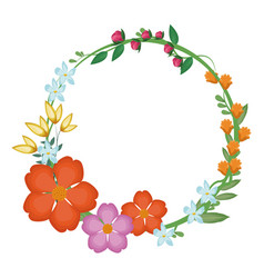 flowers leaves crown decoration vector image