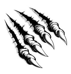 Monster claws break through white background vector image