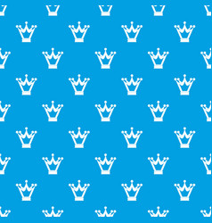 princess crown pattern seamless blue vector image vector image