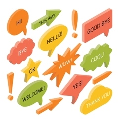 Set of isometric speech bubbles with text vector image