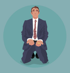 tired businessman kneeling and begging vector image vector image