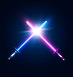 two crossed light neon swords fight club logo vector image