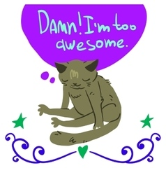 Cartoon awesome cat mascot vector image