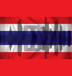 flag of thailand with bangkok skyline vector image vector image
