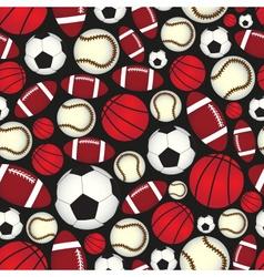 various sport balls seamless color black pattern vector image